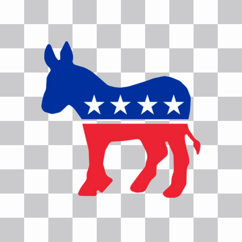 Sticker of the Democratic party logo for your photo.