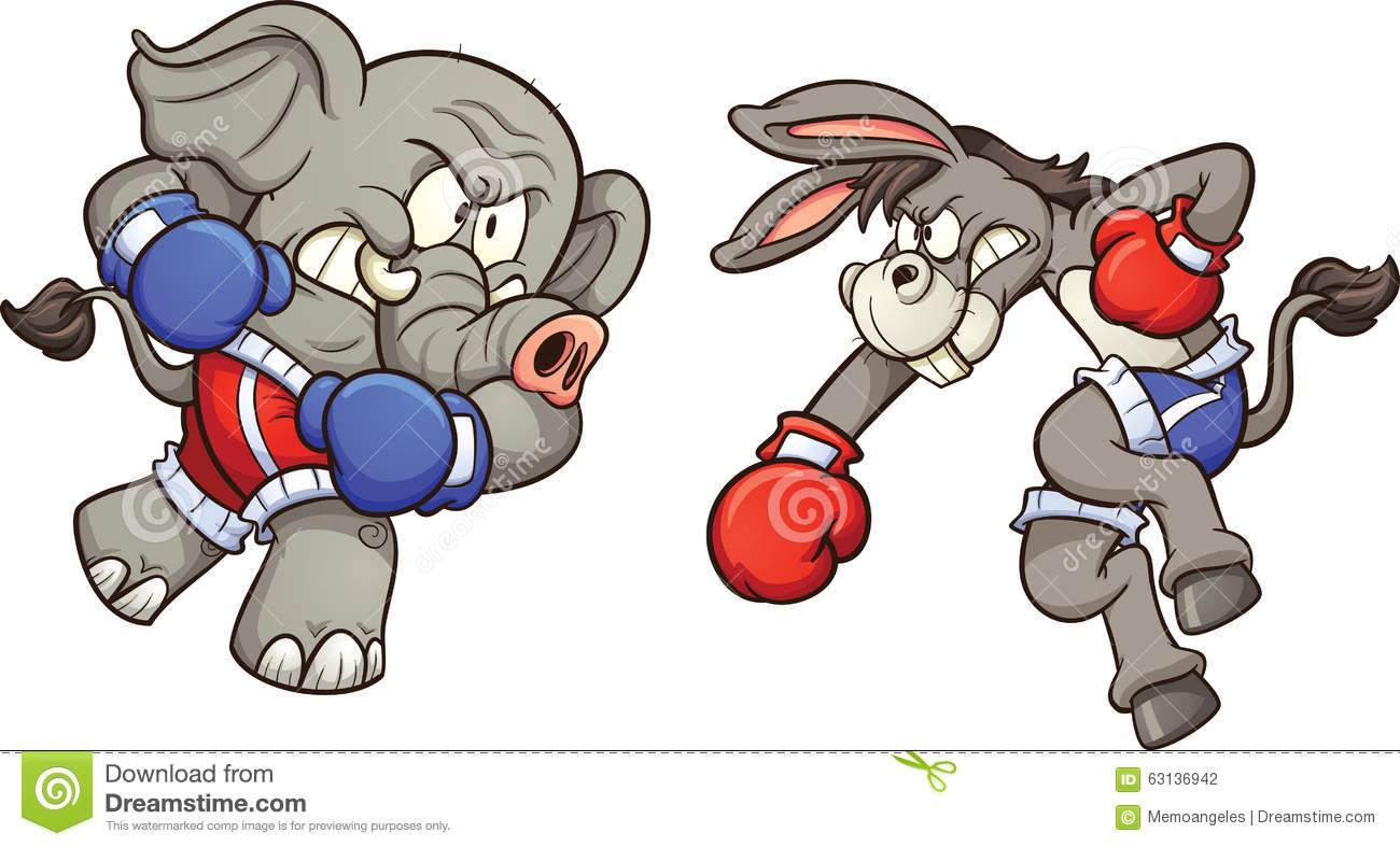 Elephant vs donkey stock vector. Illustration of angry.
