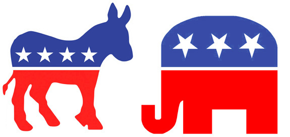 Political Animals: Republican Elephants and Democratic.