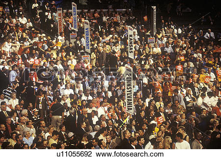 Stock Photo of State delegations and signs at the 2000 Democratic.