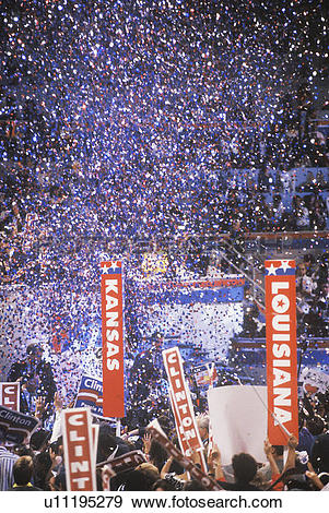 Stock Photograph of Presidential celebration at a Democratic.