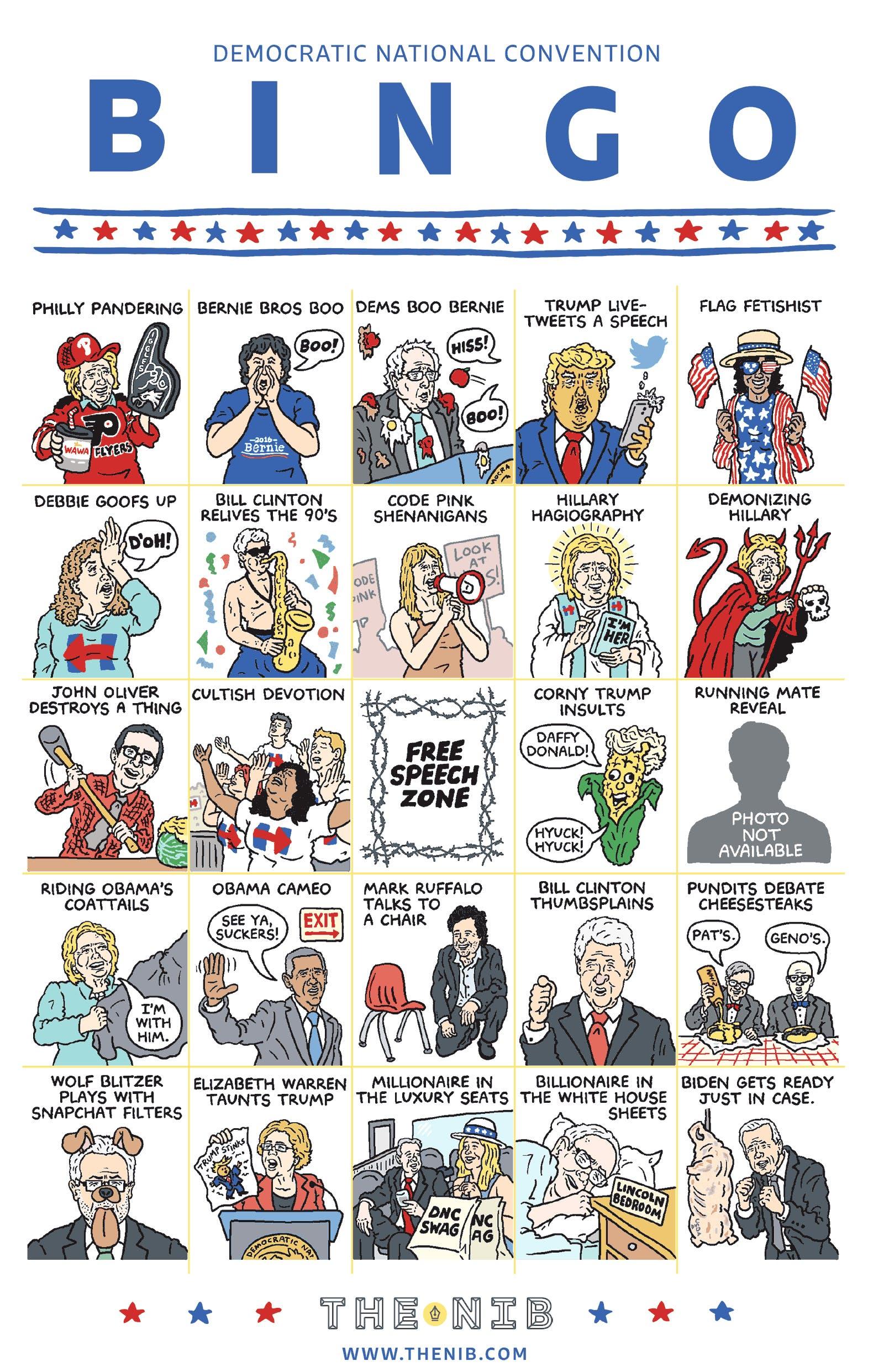 Democratic Convention Bingo.