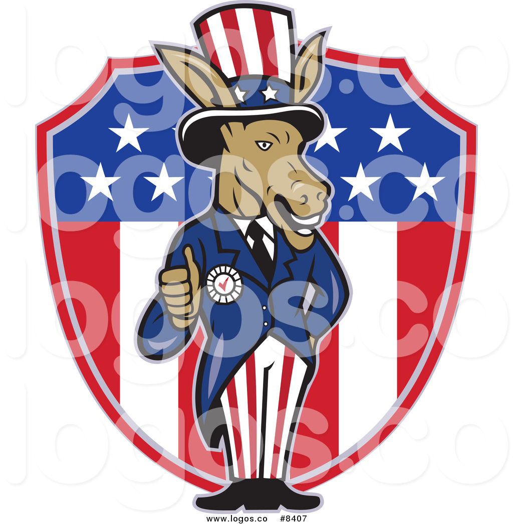 Royalty Free Clip Art Vector Democratic Party Donkey Uncle Sam.