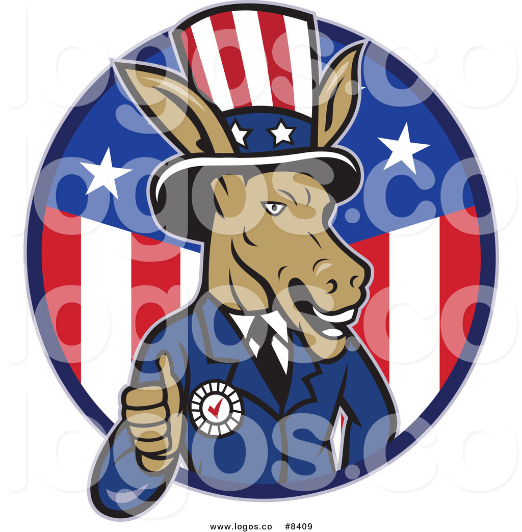 Royalty Free Clip Art Vector Logo of a Democratic Party Donkey Uncle.