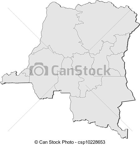 Clipart Vector of Map of Democratic Republic of the Congo.