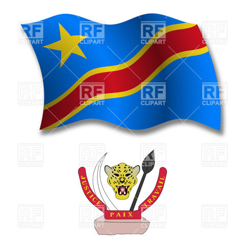 Democratic Republic of the Congo wavy flag and coat of arms Vector.