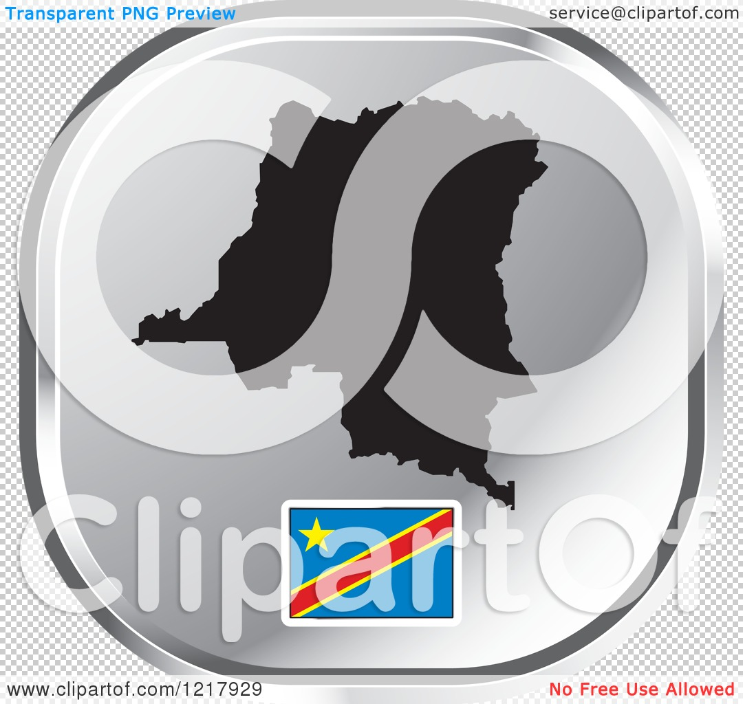 Clipart of a Silver Democratic Republic of Congo Map and Flag Icon.