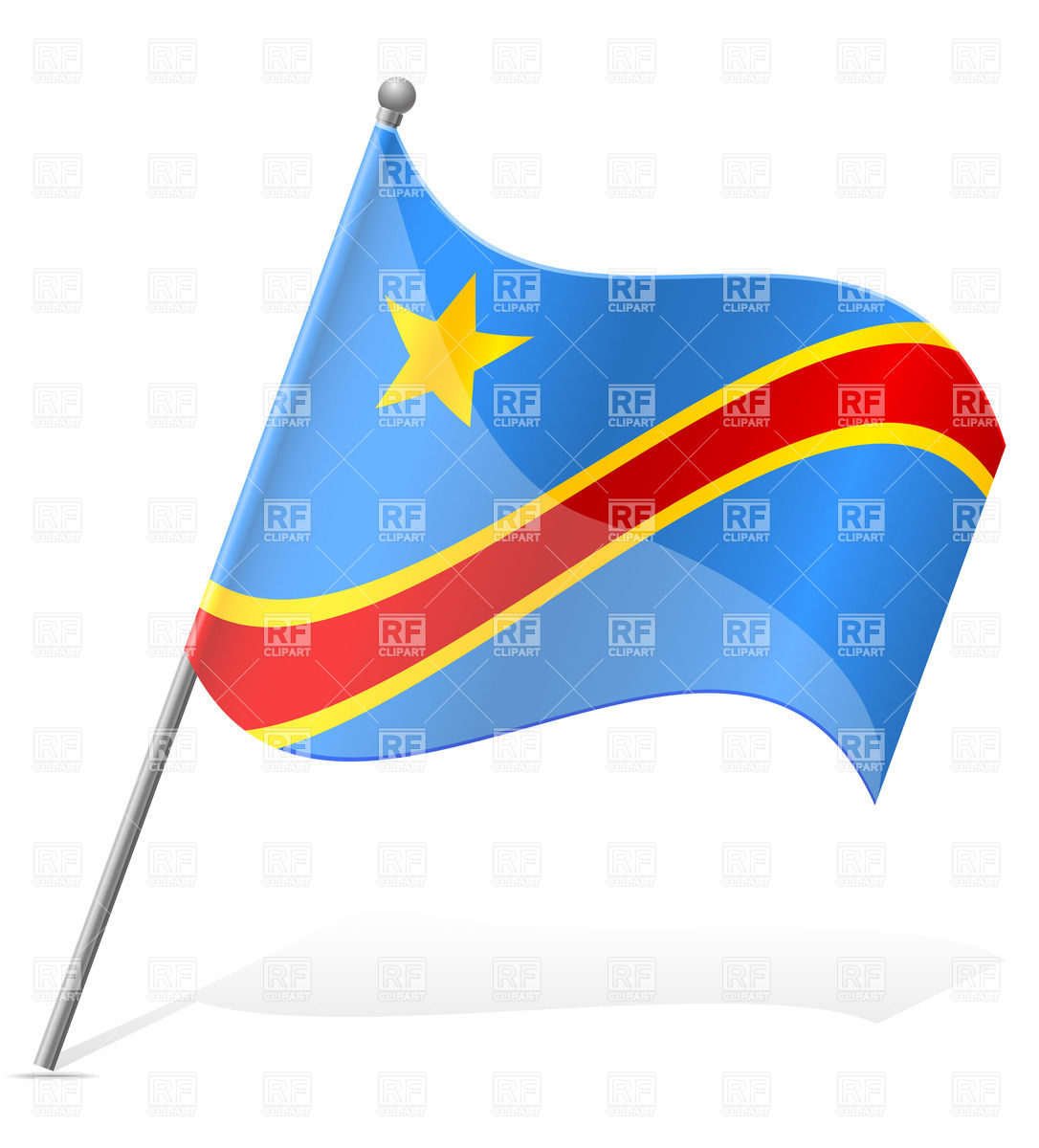 Wavy flag of Democratic Republic of Congo Vector Image #38721.