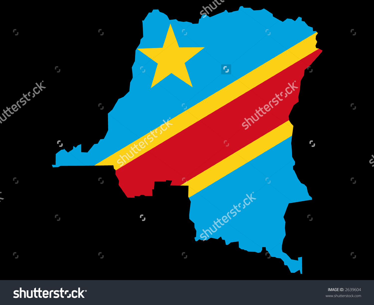 Map Democratic Republic Congo Congolese Flag Stock Vector 2639604.