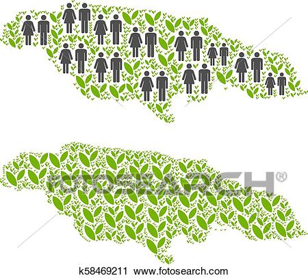 Demographics and Nature Jamaica Map Clipart.
