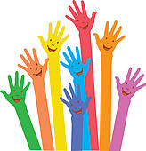 Clipart of colorful up hand concept democracy k14100911.
