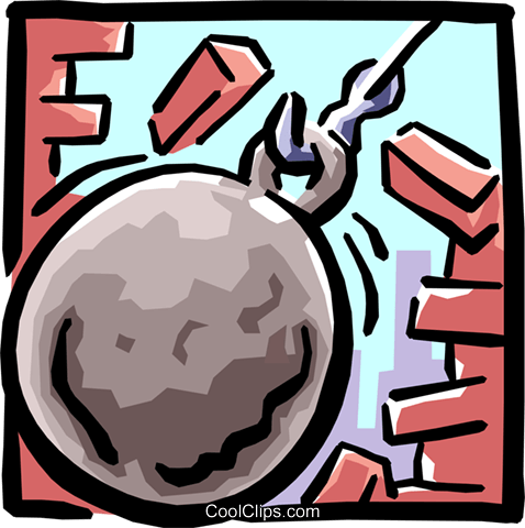 wrecking ball Royalty Free Vector Clip Art illustration.