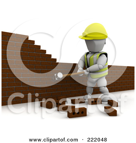 Clipart 3d Demolish Ball Breaking Through Bricks.