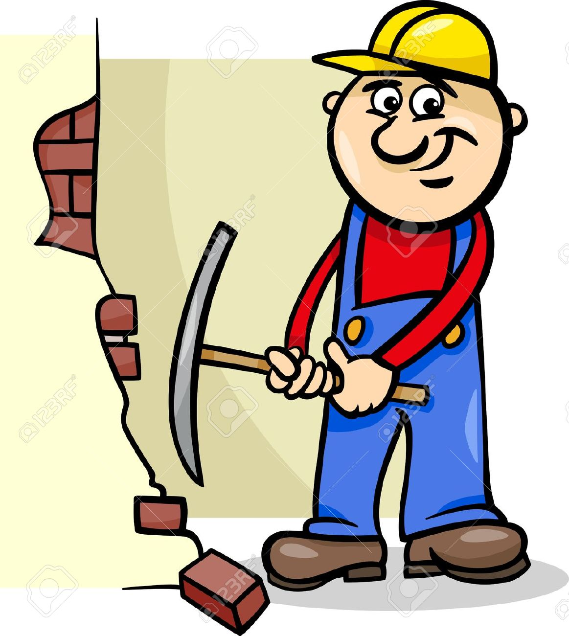 Cartoon Illustration Of Man Worker Or Workman Demolishing Brick.