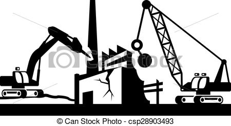 EPS Vectors of Demolition of industrial buildings.