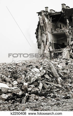 Pictures of Destroyed building, debris. Series k2250408.