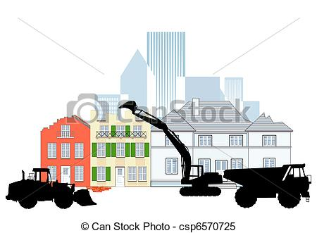 Clipart Vector of demolition building csp6570725.