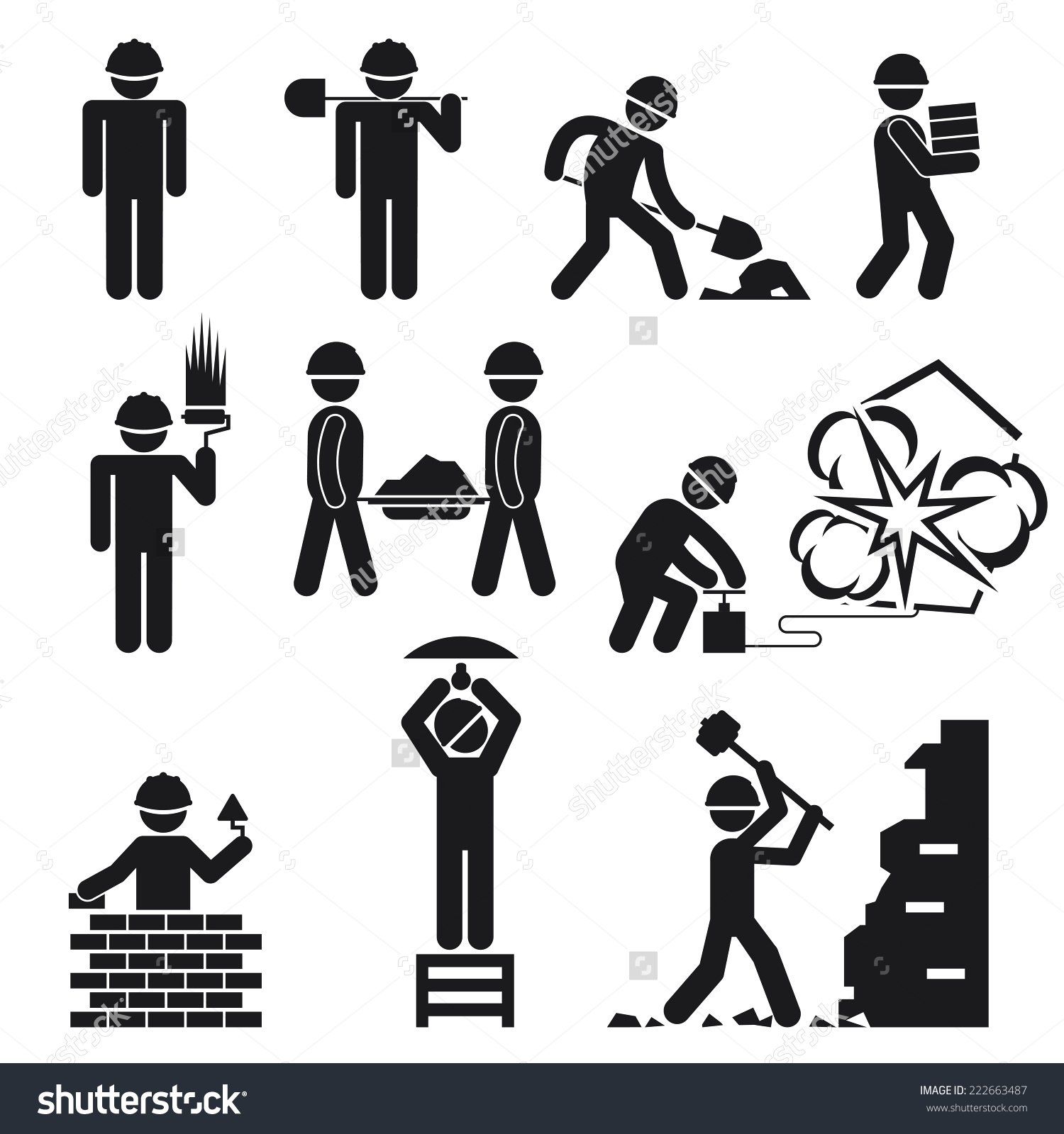 Vector Construction Demolition Buildings Pictogram Icons Stock.