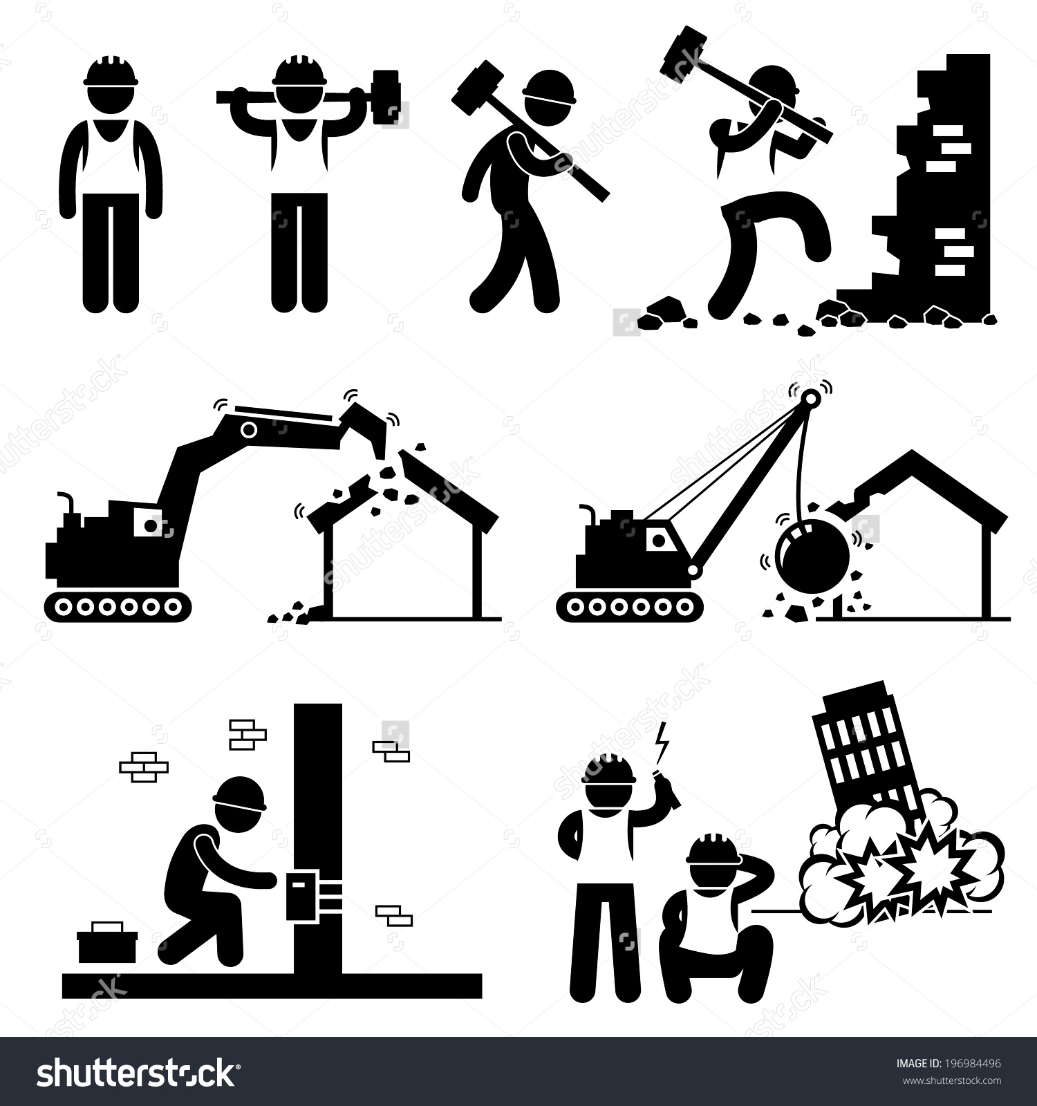Demolition Worker Demolish Building Stick Figure Stock Vector.