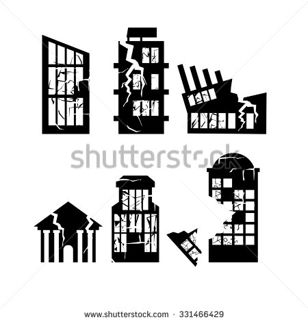 Destroyed building clipart.
