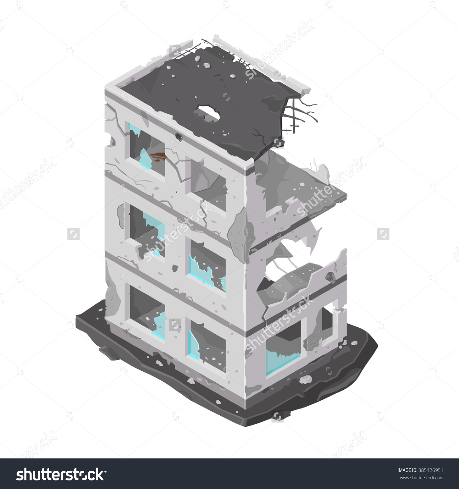 Vector Illustration Damaged Building Icon isometric Building Stock.