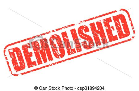 Vector Clipart of DEMOLISHED red stamp text on white csp31894204.
