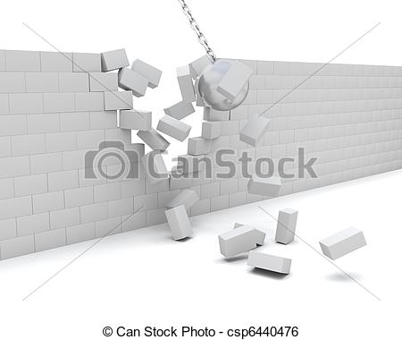 Drawings of Wrecking ball demolishing a wall.