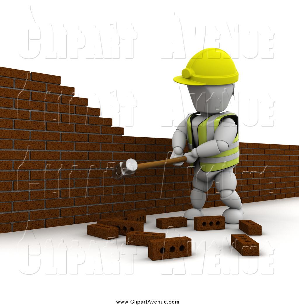 Avenue Clipart of a 3d White Man Demolishing a Brick Wall by.