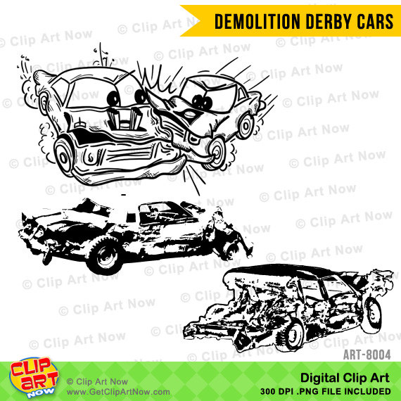 Demolition Derby Cars Digital Clip Art by ClipArtNow on Etsy.