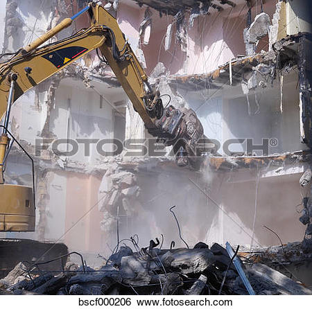 Stock Images of Germany, Wiesbaden, View of demolishing house with.