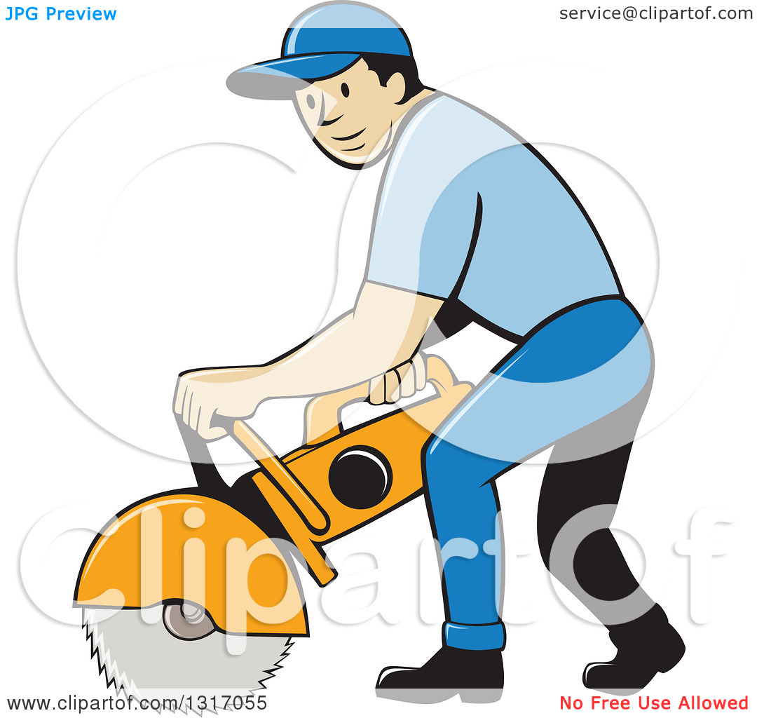 Clipart of a Cartoon White Male Construction Worker Using a.