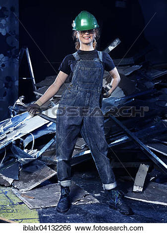 Stock Images of Portrait of a young female construction worker.