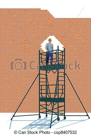 Vector Illustration of demolition work csp8407532.