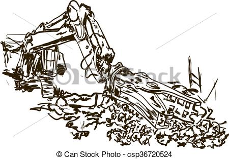 Vector Illustration of demolition work.