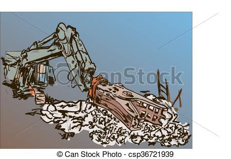 Vectors of demolition work.