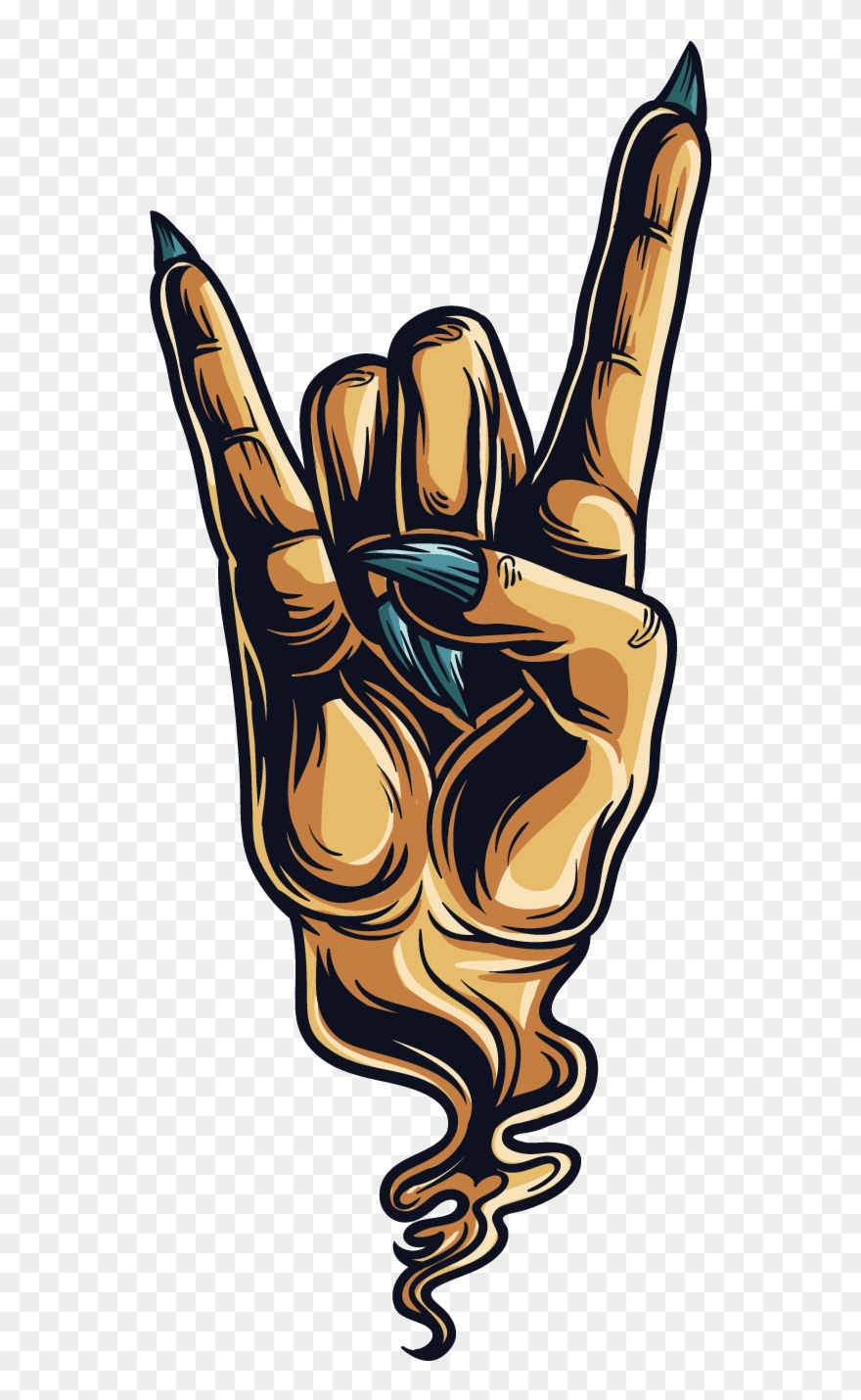Sign Of The Horns Devil Hand Gesture Sticker.