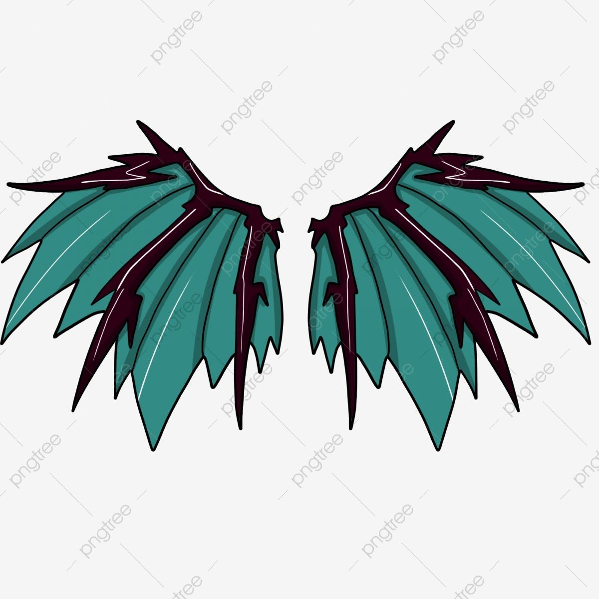 Hand Drawn Demon Wing Fine Green Wings Black Wing Skeleton, Wing.