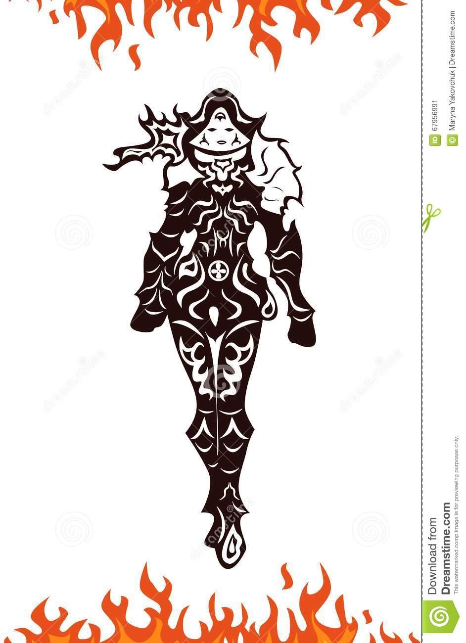 Demon Hunter Woman Fire Stock Vector.