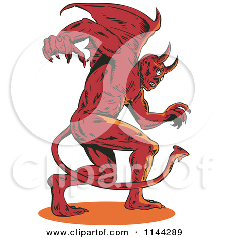 Devil Avatar Character With Horns And Fangs.