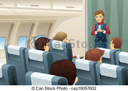 Vector Clipart of Flight attendant demonstrate how to fasten the.
