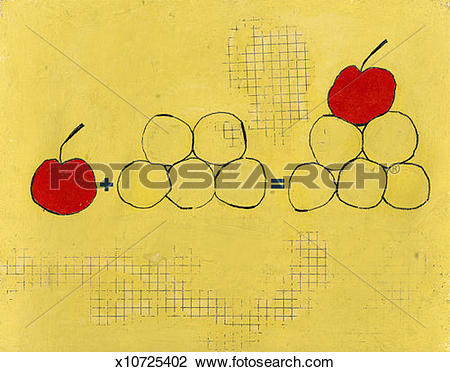 Clip Art of Addition Demonstrated With Fruit x10725402.