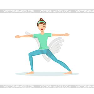 Two Virabhadrasana Yoga Pose Demonstrated B.