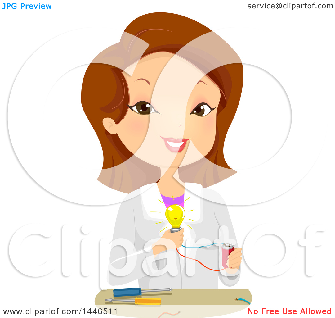 Clipart of a Happy Brunette White Female Scientist Demonstrating.