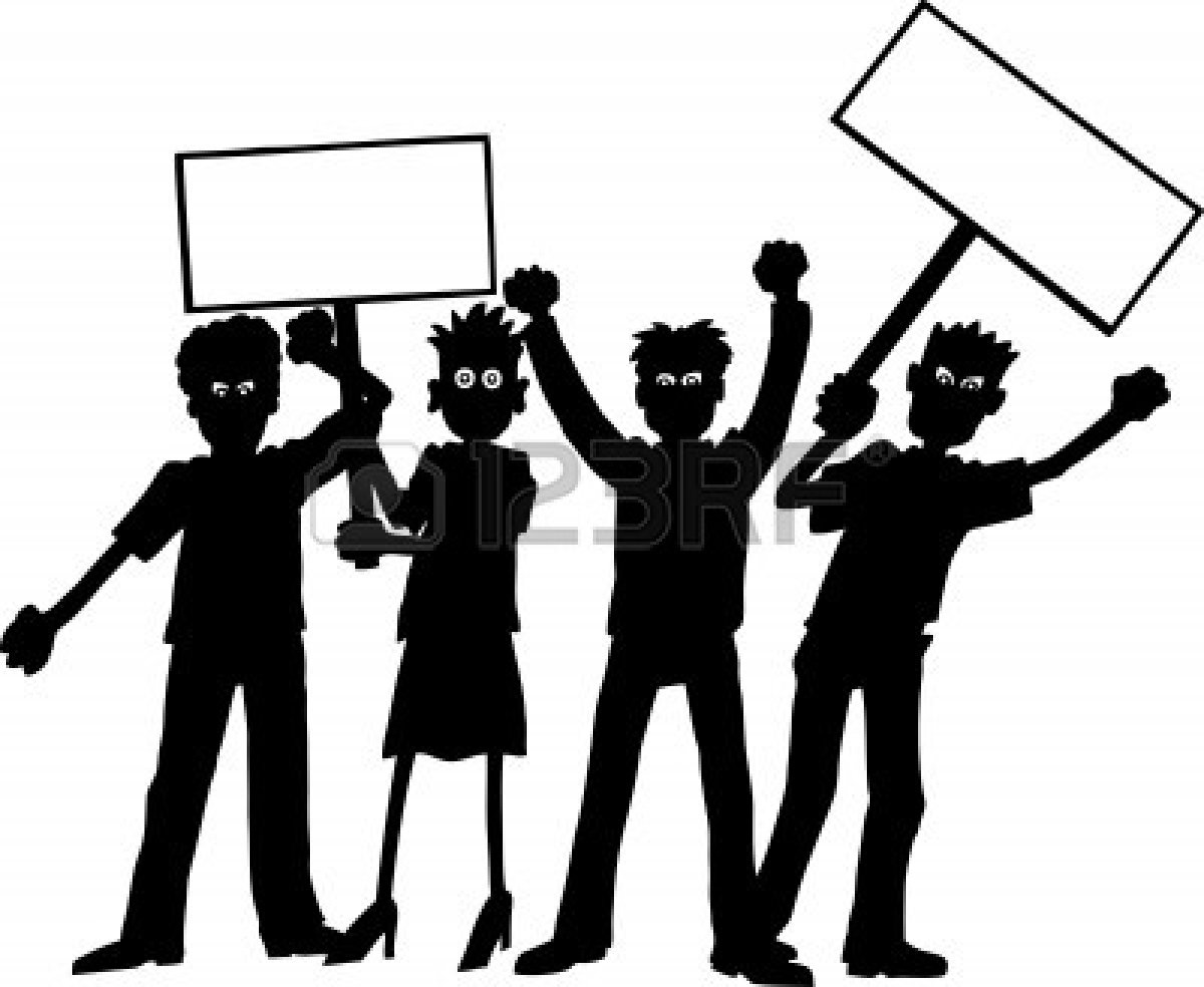 Student demonstration clipart.