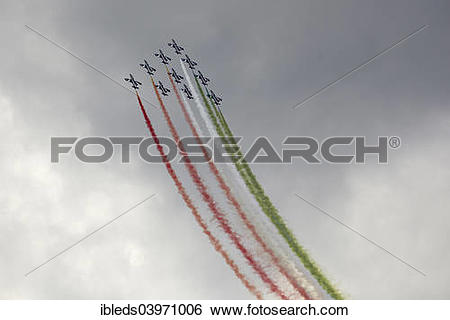 "Stock Images of ""Frecce Tricolori, aerobatic demonstration team."