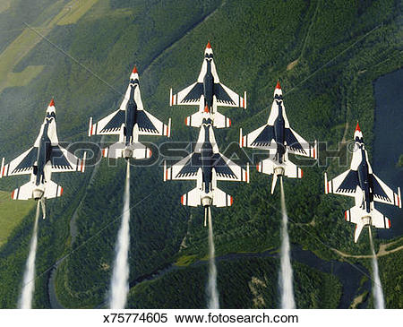 Stock Image of Thunderbird Aerial Demonstration Team in delta.