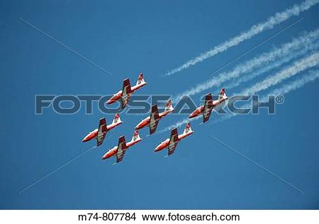 Stock Photo of The Snowbirds Demonstration Team Canadian Air Force.