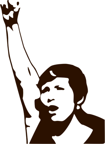 Silhouette vector drawing of a woman demonstrator.