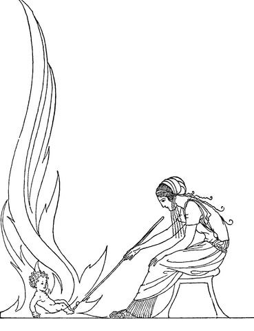 Demeter and Demophon coloring page.