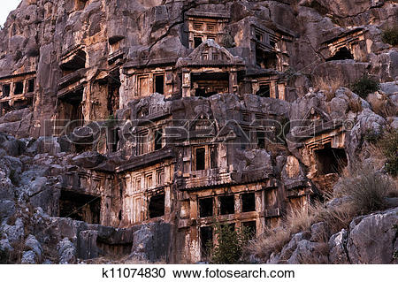 Stock Photography of Ancient Myra rock tomb at Turkey Demre.